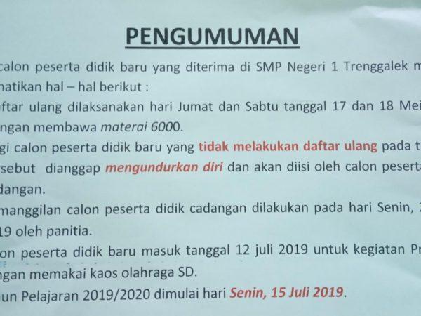 Pengumuman PPDB 2019